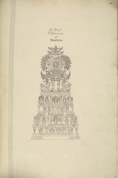 Drawing of sculpted stones along the base of the large gopuram on the east side of the Minakshi Sundareshvara Temple, Madurai